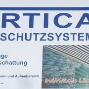 Vertica Sonnenschutzsysteme GmbH - unser Firmenschild in Seligenstadt, Am Sandborn 3 a